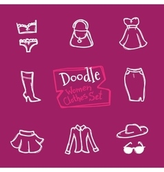 doodle style women clothes icons set Hand vector image