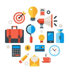 Business objects and icons in the shape of circle vector