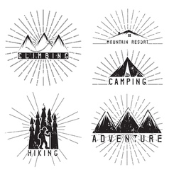 Set of vintage labels mountain adventure climbing vector