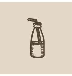 Glass bottle with drinking straw sketch icon vector
