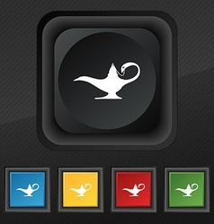 Alladin lamp genie icon symbol set of five vector