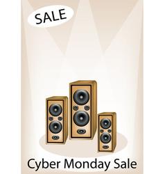 Audio speaker shouting word cyber monday sale vector