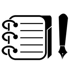 Binder and pencil icon vector