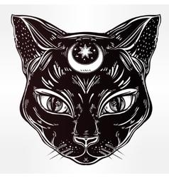 Black cat head portrait with moon vector