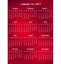Calendar for 2017 on red background vector