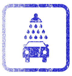 Car shower framed textured icon vector