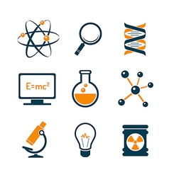 Chemistry and bio technology icons vector