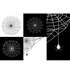 Cobweb or spider web silhouettes set vector