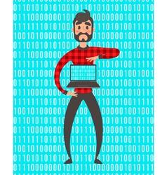 Concept of programmer superhero people Binary vector image