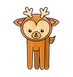 cute scribble deer cartoon vector image vector image