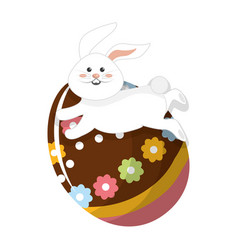 Decorative egg with cute rabbit running vector