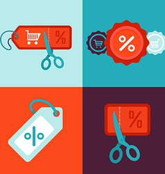 discount and sale concept in flat style vector image vector image