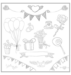 Doodle line love cute Valentines Day card vector image