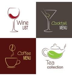 Drinks menu icons vector