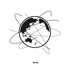 Earth and satellite orbits vector