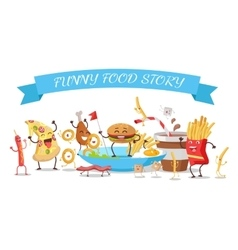 Funny food story conceptual banner childish menu vector