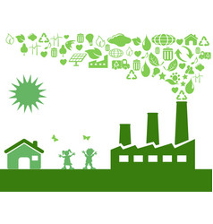 Green eco factory vector