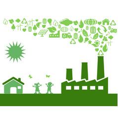 green eco factory vector image