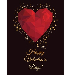 Greeting card on Valentines Day in low poly style vector image vector image