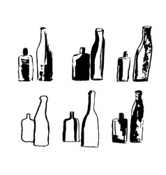 hand drawn bottles vector image vector image