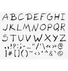 Hand written charcoal uppercase alphabet vector image
