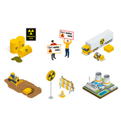 isometric set of radioactive waste elements vector image