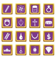 Jewelry items icons set purple vector
