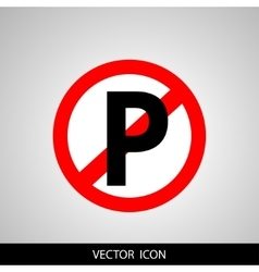 No parking sign icon on gray background vector image