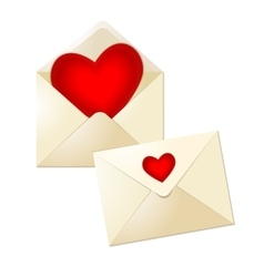 Open and close envelopes with glass red hearts for vector