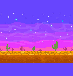 Pixel art sunset in the desert vector