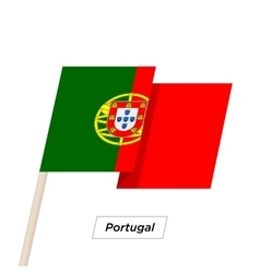 Portugal ribbon waving flag isolated on white vector
