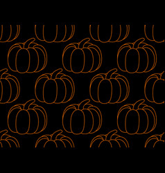 pumpkin seamless pattern on black background vector image vector image