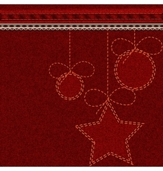 Red christmas denim background with embroidered vector