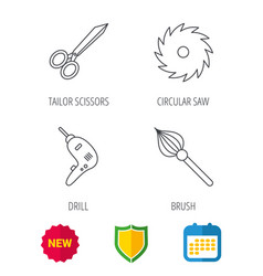 Scissors drill and repair tools icons vector