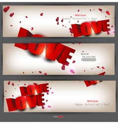 set of three banners with words love and hearts va vector image vector image