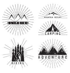 Set of vintage labels mountain adventure climbing vector