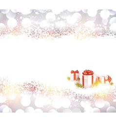 Silver christmas background with gifts vector image
