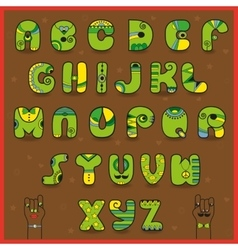 Smaragdine alphabet funny green yellow letters vector