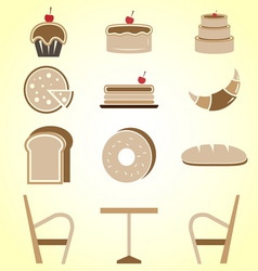 Variety of bakery color icons in coffee shop vector