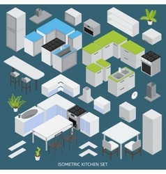 Isometric Kitchen Elements Set vector image