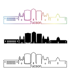 Tucson v2 skyline linear style with rainbow vector