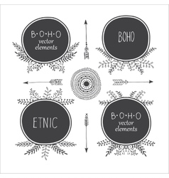 Set of creative Boho style Frames mady by Ethnic vector image