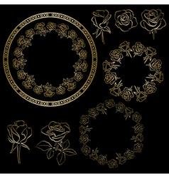 golden roses and frames of flowers - floral set vector image