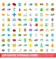 100 goods storage icons set cartoon style vector image