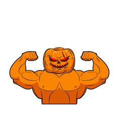 Powerful pumpkin fruit bodybuilding with muscles vector