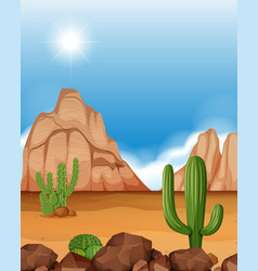Desert scene with mountains and cactus vector