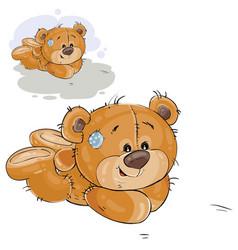 a brown teddy bear lies on vector image