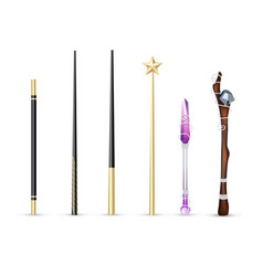 Magic wand realistic set vector