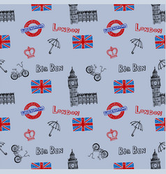 Seamless background with symbols of london vector