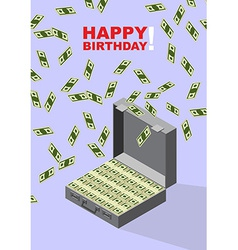Happy birthday case of money wealth vector